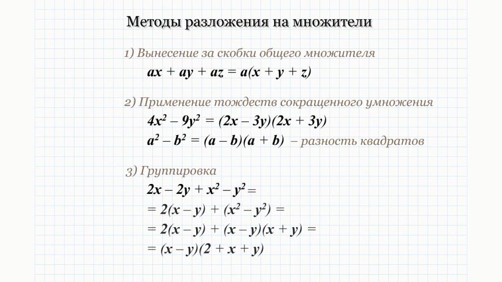 Методы разложения на множители